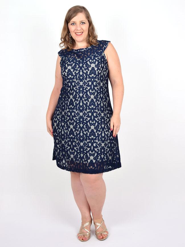c5b4981c0d9df9 Vestido Curto Festa Renda Azul Plus Size