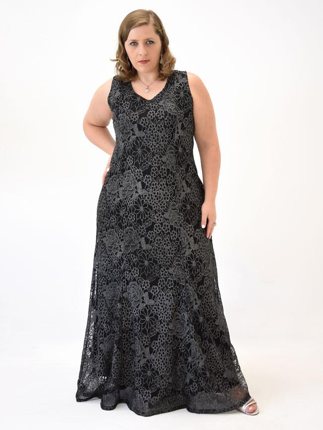 44ee3f195a Vestido Festa Longo Regata Renda Preto Plus Size