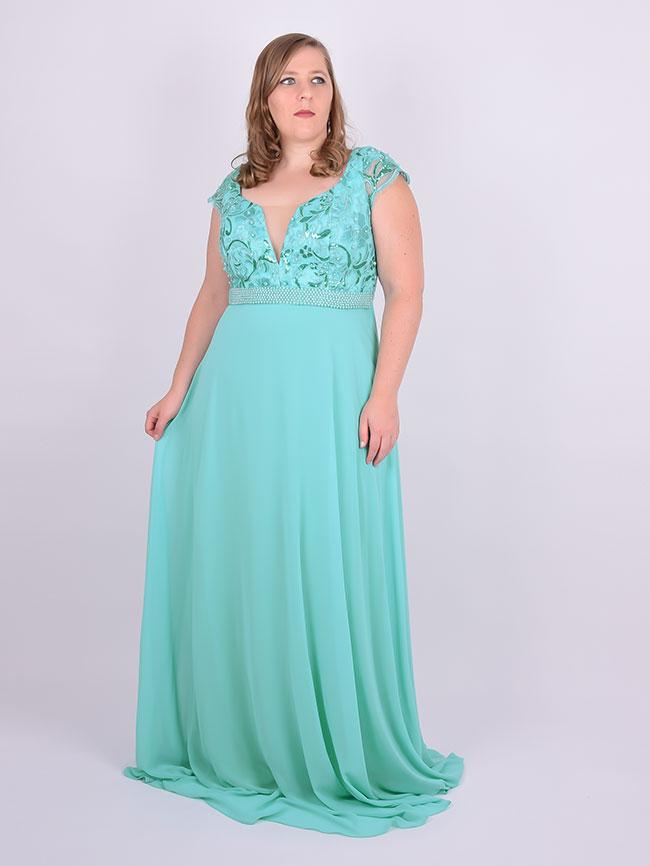 Vestido de renda verde tiffany