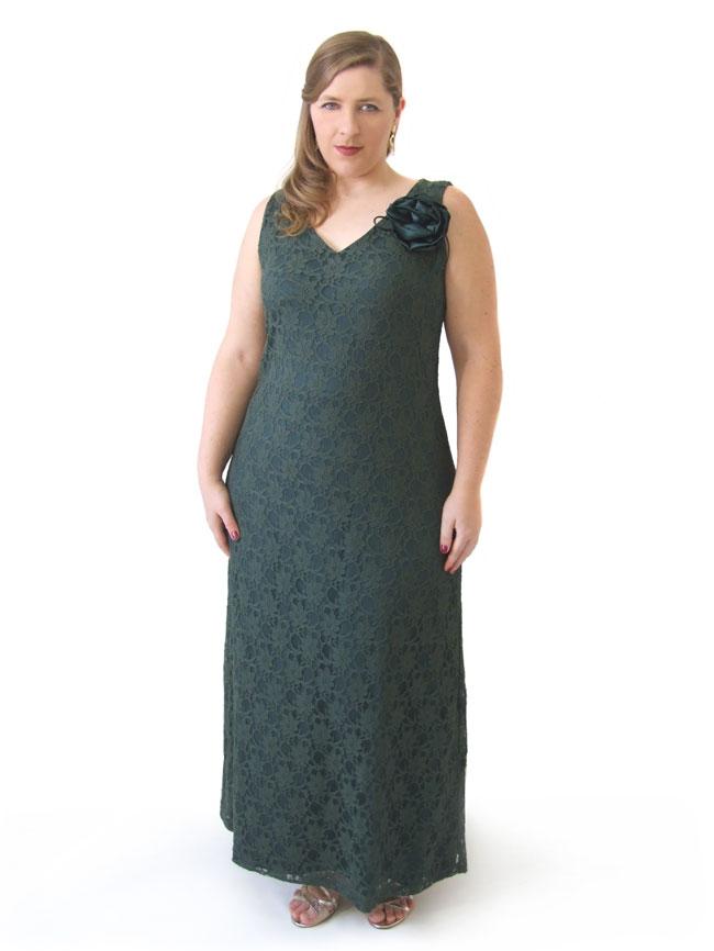 Vestido Festa Longo Regata Decote V Renda Verde Plus Size