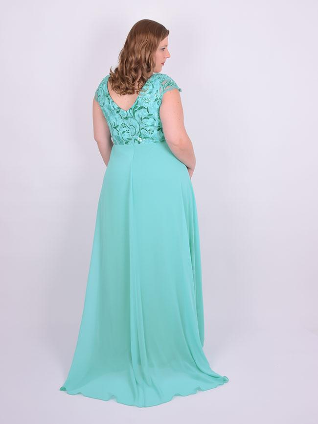 Vestido para madrinha plus size verde tiffany