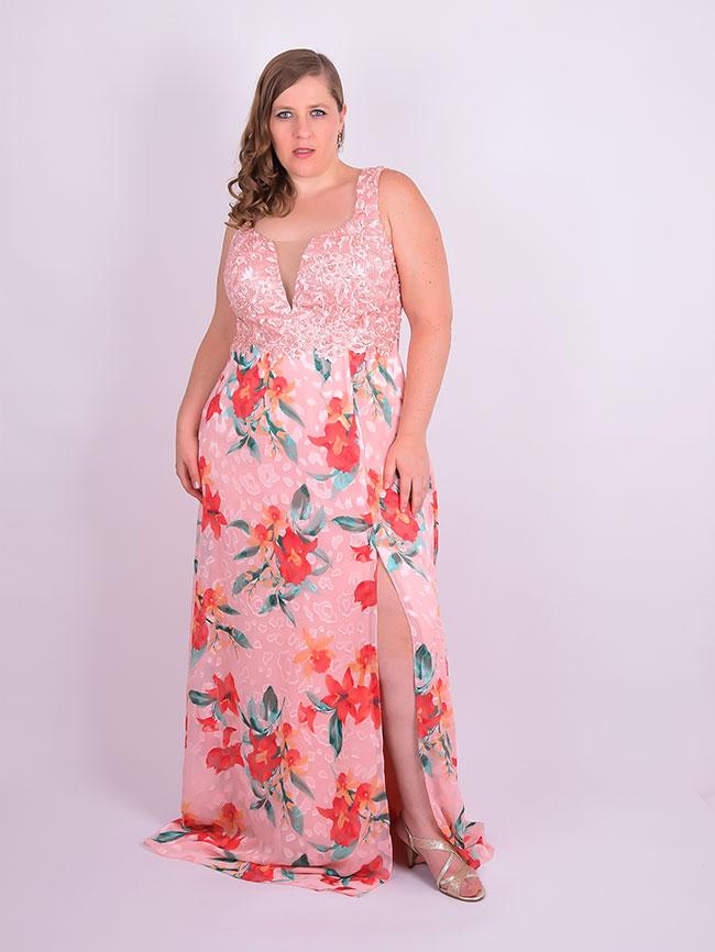 442302014e Vestido Longo Festa Renda Crepe Estampado Rosa Plus Size ...
