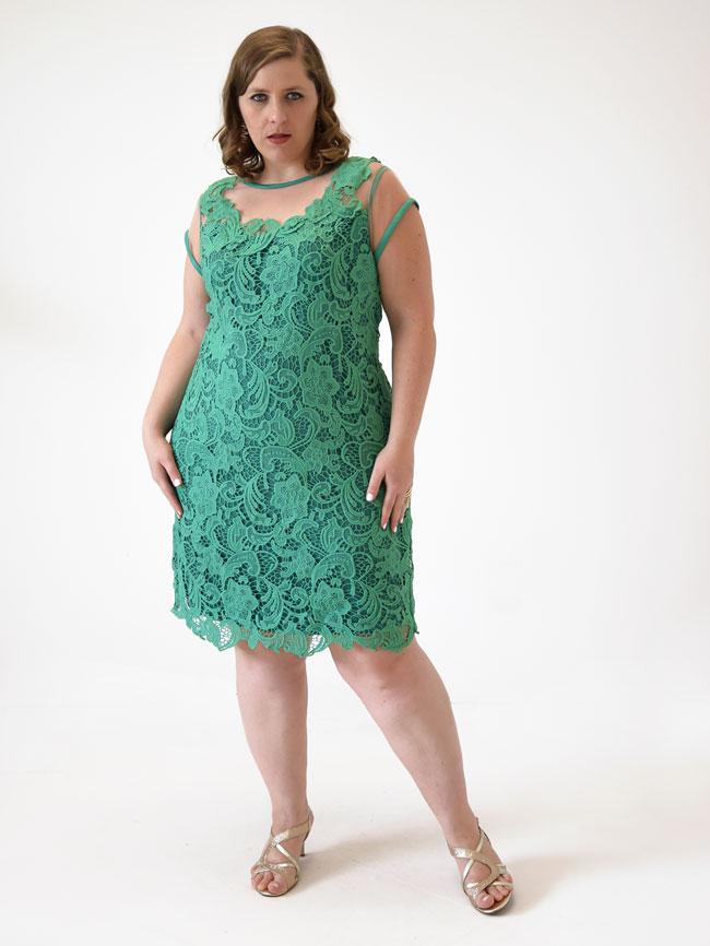 8ae4bbadc0fe0b Vestido Festa Curto c/ Manga Renda Guipure Verde Plus Size