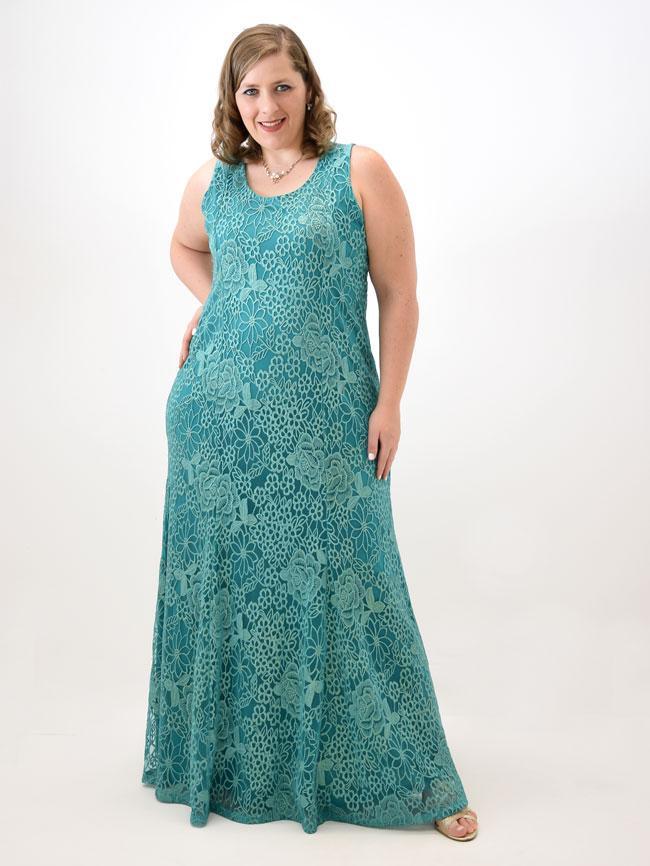 Vestido verde agua longo plus size