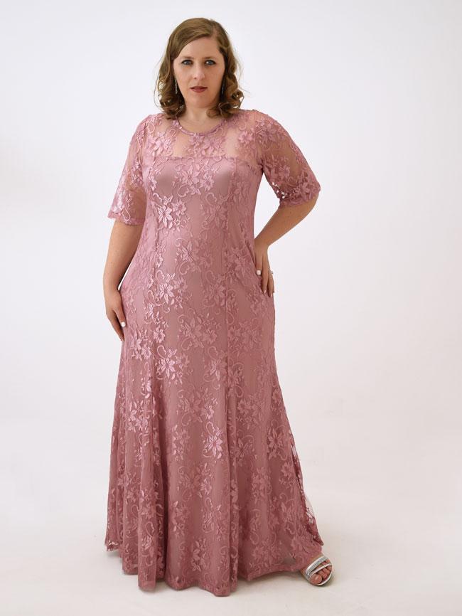 Vestido longo manga rosa