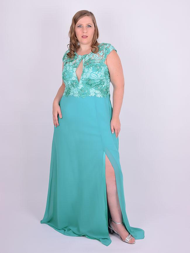 Vestido para festa verde tiffany