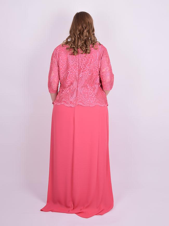 Vestido Longo Festa Manga 34 Renda Chiffon Rosa Plus Size