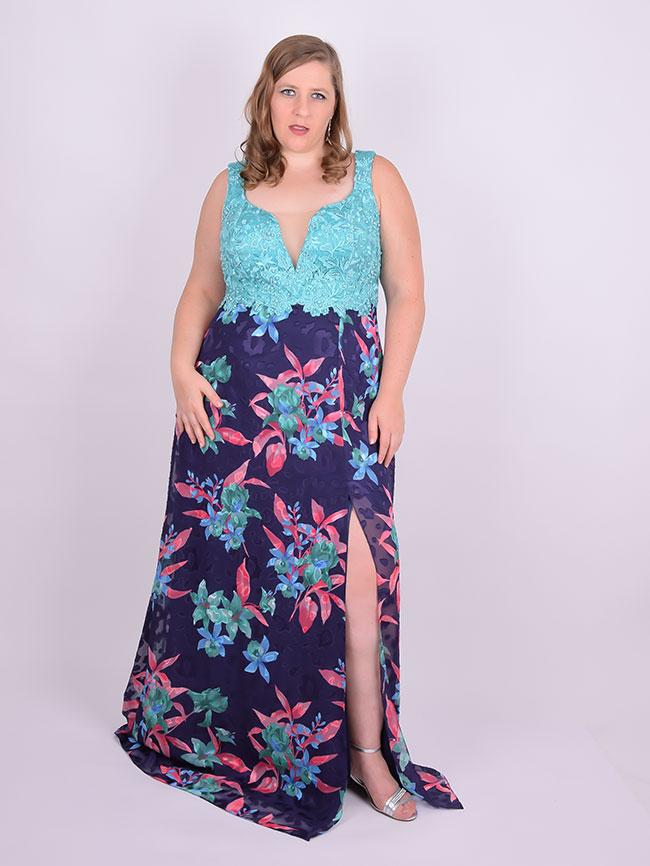 e5b33ff5f Vestido Longo Festa Renda Crepe Estampado Azul Plus Size ...