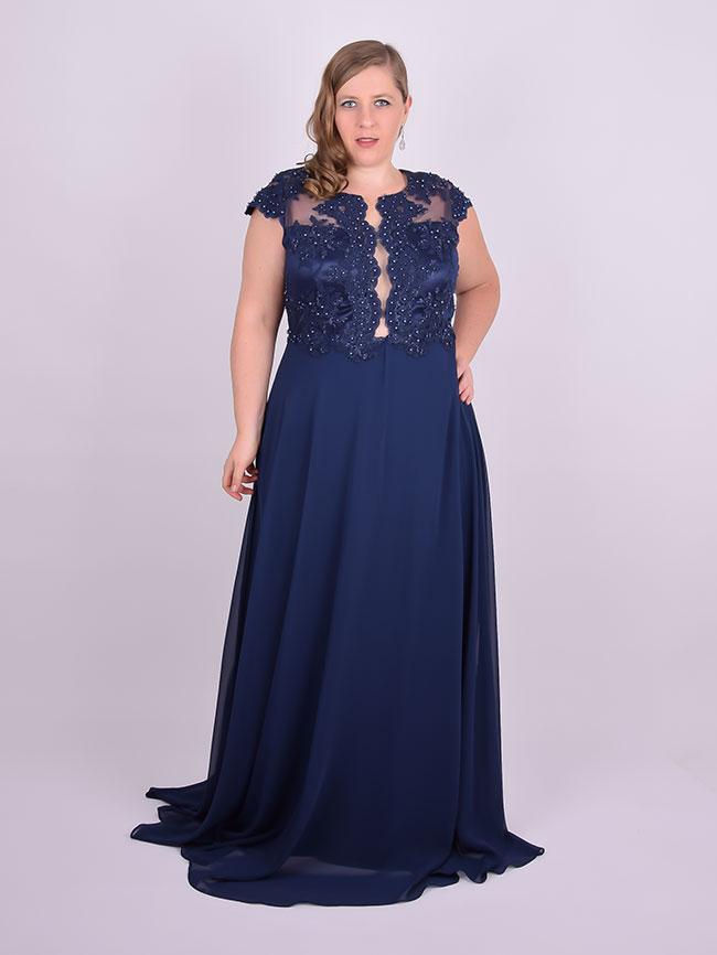 c806d95f4 Vestido Longo Festa Bordado Azul Marinho Plus Size