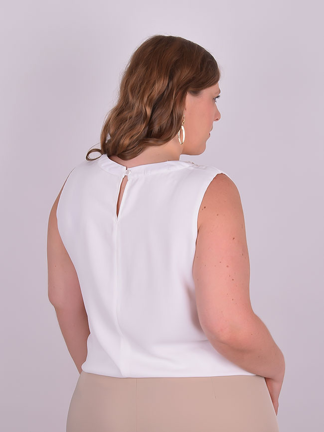 a38d614c97 Blusa Festa Cavada Crepe Bordada Off White Plus Size