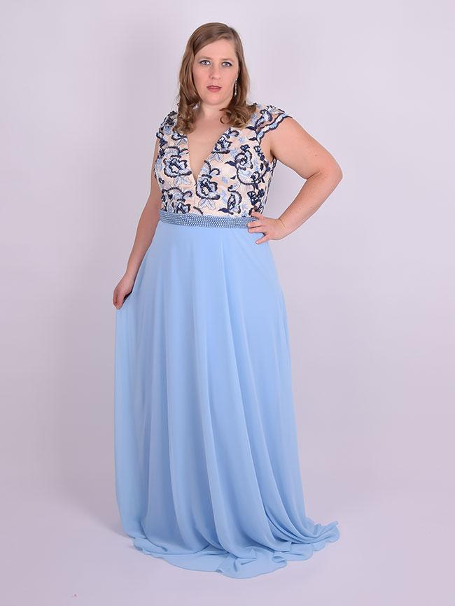 Vestido bordado azul longo