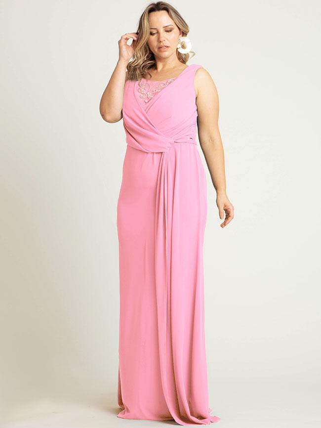 411fed609d66 Vestido Longo Festa Chiffon Rosa Plus Size | Pianeta | Grassottelli ...