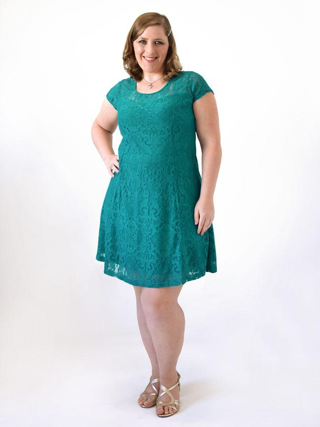 Vestido de festa verde com renda