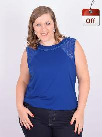 Blusa Regata Viscolycra e Renda Azul Plus Size