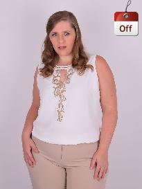 Blusa Festa Cavada Crepe Bordada Off White Plus Size