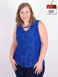 Blusa Regata Renda Viscolycra Azul Plus Size
