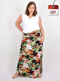 Saia Longa Viscose Estampada Plus Size