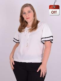 Blusa Manga Curta Viscose Off White Plus Size