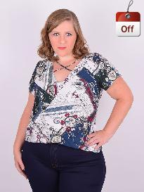 Blusa Manga Curta Viscose Estampada Plus Size