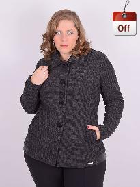 Casaco Tweed Flanelado Cinza Grafite Plus Size
