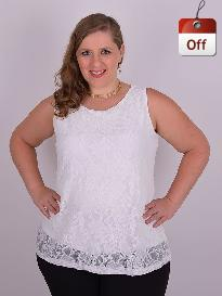 Blusa Festa Cavada Renda Off White Plus Size
