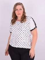 Blusa Manga Curta Crepe Poá Off White Plus Size