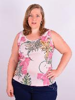 Blusa Regata Rib Estampada Plus Size
