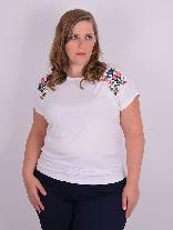 Blusa Manga Japonesa Bordada Natural Plus Size