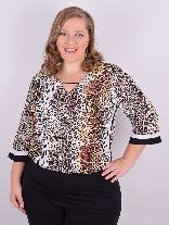 Blusa Manga 3/4 Viscose Animal Print Plus Size